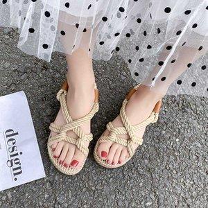 Corda Gladiator Sandals mulheres Deslizamento 2020 sobre Flat Sandals Mulheres Verão Sapatos Doce Praia Sapatos Bege Preto