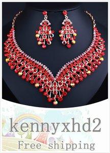 Преувеличенные кисточкой ожерелье Кристалл серьги роскошный алмаз Middle East African Люкс Свадебные ювелирные изделия Set