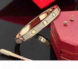 Luxury Full Diamond Stainless Steel Bracelet Fashion Womens Mens designer Love iced out Bracelets Cuff Bangles Screwdriver Jewelry