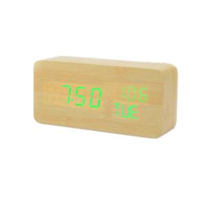 Reloj despertador de madera de doble potencia LED pantalla de madera reloj con calendario / segundos / temperatura / semana reloj digital xyztime