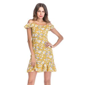 Femmes Floral Print robes été fille robe d'été en mousseline de soie fraîche robe Slash Neck spaghetti Strap jupe volants vacances Beach Wear
