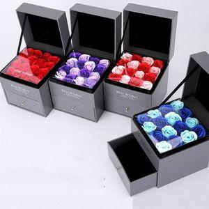 Rosa artificial romántica caja de bolsa de artículos de alto nivel creativo regalo de la joyería Día de la madre de la boda regalo de San Valentín se levantó cuadro T3I5648