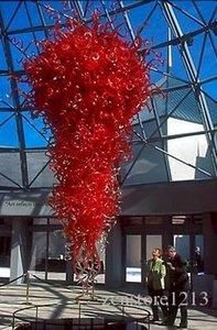 Big Hôtel décor à la main en verre soufflé LED Lustre Chihuly style rouge verre soufflé LED Lustre avec certificat CE UL