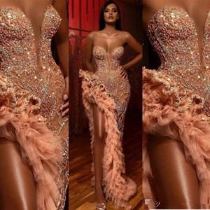 2020 Sexy Pfirsich Abendkleider Wear für Frauen Meerjungfrau Schatz Kristall Perlen High Side Split Bodenlänge Formale Prom Dress Party Kleider