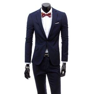 ( Jacket + Pants ) 2020 New Men's Fashion Boutique Pure Color High-grade Brand Wedding Dress Suits Blazer Slim Business Men Suit