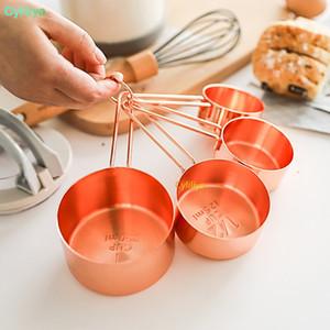 El cobre de alta calidad de acero inoxidable de las tazas 4 Herramientas Piezas Juego de cocina Fabricación de tortas y hornear Medidores Herramientas de medición nuevos