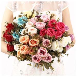 Simulation Silk Rose Künstliche Hochzeit Braut Bouquet Rose, Rosa, Rot, Blau, Lila Brautstrauß Valentine Hochzeit Home Decor