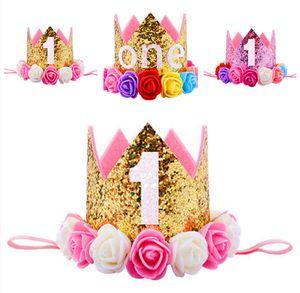 New Newborn Toddler Baby girl ragazzi bambino 1st Birthday Party Crown fasce Fiore Principessa corona fascia regalo Puntelli Foto