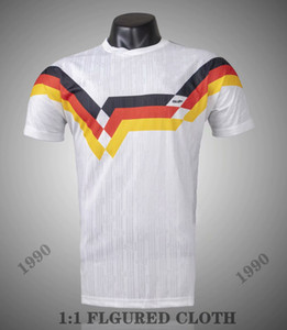 Thai Jacquard 1988-1990 Allemagne de l'Ouest Accueil T-shirt en jersey de football rétro Matthäus Klinsmann Völler Häßler Brehme 99 90 maillots de football classique