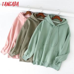 Tangada 2020 autumn winter women fleece cotton hoodie sweatshirts oversize ladies pullovers pocket hooded jacket SD60-1 Y200706