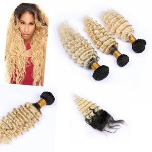 """Ombre indio ondulado profundo de la armadura del pelo humano de lotes con el encierro 4"""" * 4"""" # 1B / # 613 Ombre Wave Bundle con el encierro"""