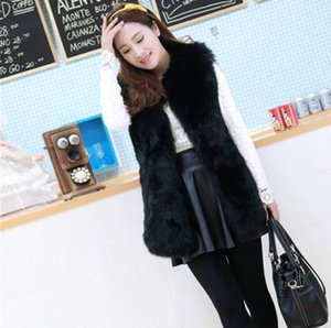 Clobee 2019 Invierno Abrigo de piel sintética para mujer Chaleco de piel artificial Chalecos peludos Chaquetas Femme Tallas grandes Chaleco falso cálido Q968