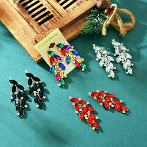 European and American personality exaggerated color matching colorful diamond earrings earrings female hot irregular earrings