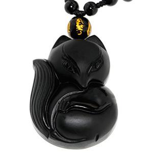10 unids / lote Natural Negro Piedra de Obsidiana Tallado Emperatriz Fox Colgante de Joyería de Los Hombres de las mujeres Amuleto de la Suerte de los Hombres Jades