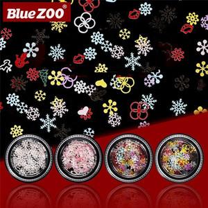 Nail art bleu Zoo de Noël Décorations en métal Nail Snow Flakes forme de fleur blanche Rose manucure 3D ongles Paillettes