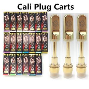 CaliPlug Тележки масло упаковка Vape картридж 0,8 мл 1мл Керамический картридж голографические Розничные сумка Box Cali штепсельные Золотые Тележки 510 Vape Ручки