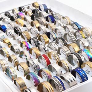 100pcs / lot anillos del acero inoxidable mezcla del anillo Estilos pares de los amantes de la banda de regalos de boda Hombres Mujeres partido de la joyería de moda a estrenar