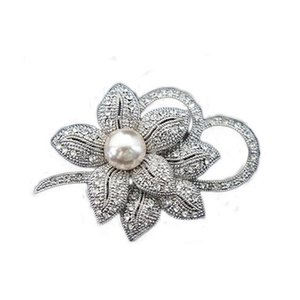 2019 hot sale brooches Vintage Style Clear rhinestone Imitation Pearl Big Bow Brooch Wedding Accessories party gifts free ship 10pcs lot