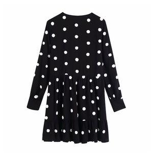 Embroidered dot Ruffle mini skirt women's 2020 fashion V-Neck long sleeve Chic Dress