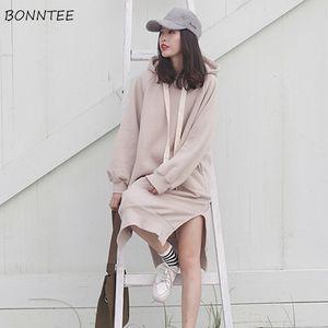 Hoodies Women Hooded Long Solid Simple All-match Loose Oversize Pullovers Womens Korean Hoodie Cotton Kawaii Sweatshirts Chic