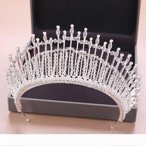 Handmade Crystal Beads Bridal Tiara Crown Bride Headpiece Wedding Hair Jewelry Accessories Women Pageant Hair Ornaments