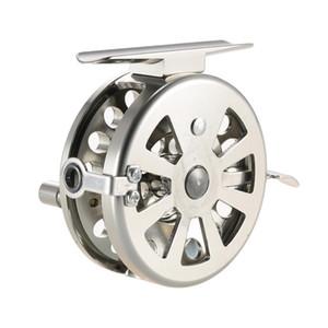 Angelrollen Fliegenrollen Rechts-Glatt-Aluminium-Legierung Rock-Eis-Fischen-Zusatz-Edelstahl-Spule Fly Fishing Reel Handed
