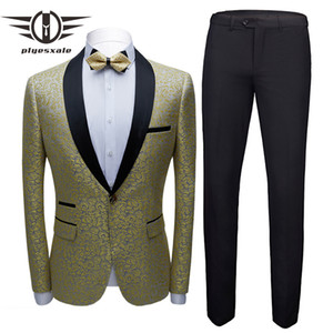 Plyesxale New Design Mens Floral Suits Stage Singer Wedding Groom Tuxedo Costume Lastest Coat Pant Designs Prom Suit Man Q831