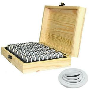 Ronda Reino Unido monedas de madera caja de almacenaje de la moneda de colección 50 Cápsulas