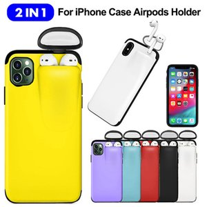 ALLOET 2 in 1 Phone Case For iPhone 11 Pro Max Xs Max Xr X 10 8 7 Plus Cover With Earphone Storage Holder Hard Case For AirPods