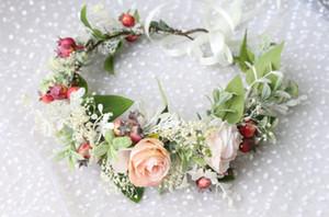 Özel yapılmış çocuklar çiçek taç simülasyon çiçek kızlar prenses garlands çocuklar şerit Dantel-up kravat rattan dokuma çelenk A1963