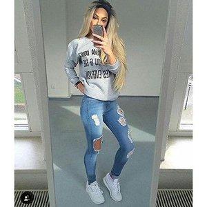 Erkek arkadaşı Delik Ripped Jeans Kadın Pantolon Düz Jeans Kız Yüksek Bel Casual Pantolon Kadın İnce Jeans için Denim Vintage Soğuk