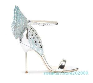 Vente-Femmes Hot Colorful Sandales papillon cheville Wrap Angel Wings Stiletto Escarpins Gladiator Sandales Parti Chaussures de mariage femme S09