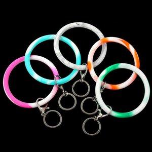 Polso della catena Portachiavi Camouflage braccialetto in silicone Portachiavi rotondo del cerchio arcobaleno braccialetto chiave di Keychain per la donna cinturino da polso caldo K61