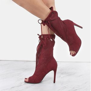 Spring Autumn Women Ankle Boots Plus Size 35-43 Hollow Out High Heels Shoes Woman Lace-up Peep Toe Sexy Botines For Females