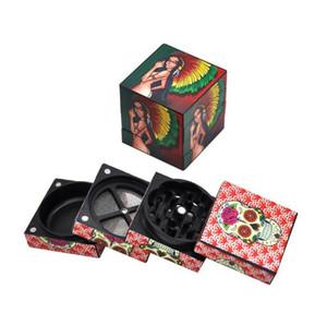 NOUVEAU broyeurs MAGIC cube broyeur d'herbes avec 4 couches en alliage métallique tabac beauté broyeur Concasseurs 50mm avec un design spécial