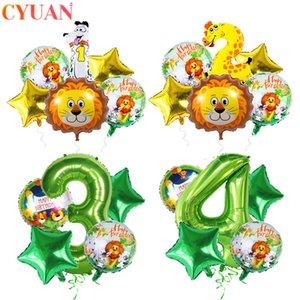 yığın Balon Aksesuarları Bebek Hayvan Ballons Doğum Orman Teması Balon Düğün Dekor Çocuk Boy Doğum Balon Orman ...