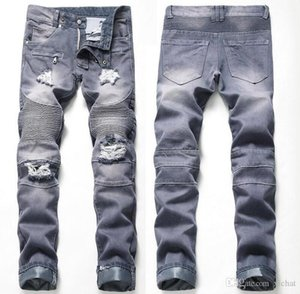 Única para hombre palideció Fold con paneles de jeans de moda del diseñador del pierna recta Slim Fit Motocicleta del motorista Rayado Pantalones vaqueros JB6601
