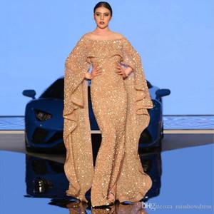Lindo Sparkly Dubai Vestidos 2020 Longa tampado Mermaid alta Dividir Mulheres Prom vestido de festa árabe vestidos de fiesta de noche