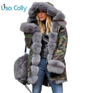 Lisa Colly Plus Size Damen Winterjacke mit Kapuze Mantel Baumwollmantel-Pelz-Mantel-Jacken Warme Parka Frauen Thick Furs