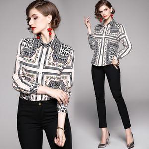 Elegante Blumendruck-Frauen-Geschäfts-Langarm-Shirt 2020 Frühling Runway Luxus Desiger Damen Blusen Beiläufiges Büro Knopf-Revers-Ausschnitt Tops