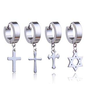 Titanium aço Cross Star Drop Falso Piercing Do Punk Brincos Homens Hipoalergênico não-Piercing clipe em Anéis de Orelha de argola para As Mulheres Da Moda Jóias