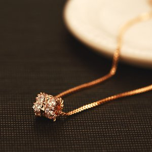 2020 New trend 18k gold plated sexy rose gold necklace jewelry female high-end super flash zircon necklace luxury personality clavicle chain