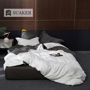 Suaker Luxury White Gray 100% Silk Bedding Set Beauty 25 Momme Silk Quilt Cover Queen King Flat Sheet Fitted Sheet Pillowcase