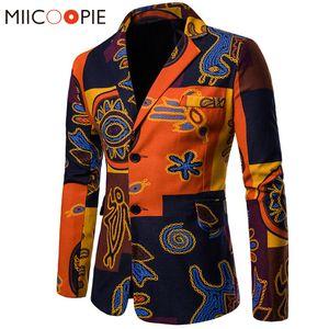 Yeni Bahar Suit Blazer Erkekler Pamuk Keten Slim Fit Erkek Rahat Ceket Milliyet Baskılı Eril Blazer Masculino Suits