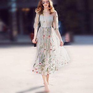 2018 new style embroidered long skirts Flower dress
