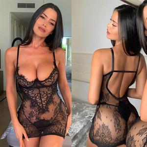 Lingerie Sexy Nuit robe de nuit pour les femmes 2019 Taille Lace Voir les plsu-femmes par Nighgown Sous-vêtements érotiques + T-Back Thong Hot