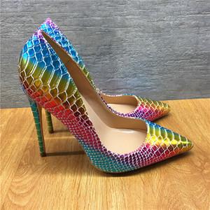 Sette colori a punta fine serpentina tacco alto 12 CM super tacco alto moda pista sexy pista pista donne scarpe personalizzate 33 - 45 yard