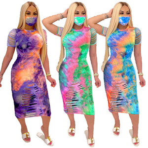 Frauen Designer-Bindung gefärbter O Ansatz Kleider aushöhlen Bleistift-Kleider Sommer Panelled Mode-Büro-Dame-Kleider