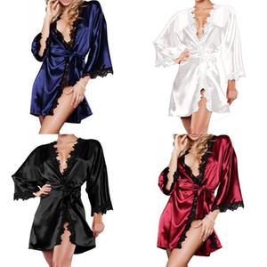 Nouveau Hot Sexy Col En V Ceintures Femmes De Luxe Chemise De Nuit En Dentelle Chemise De Nuit Doux Home Dress Solide Femelle Lâche Bain Robe De Nuit vêtements de nuit