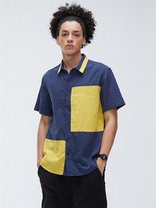 Homens de manga curta Personalidade lapela pescoço Patchwork Hit cor do verão Camisas Casual Masculino solto Top